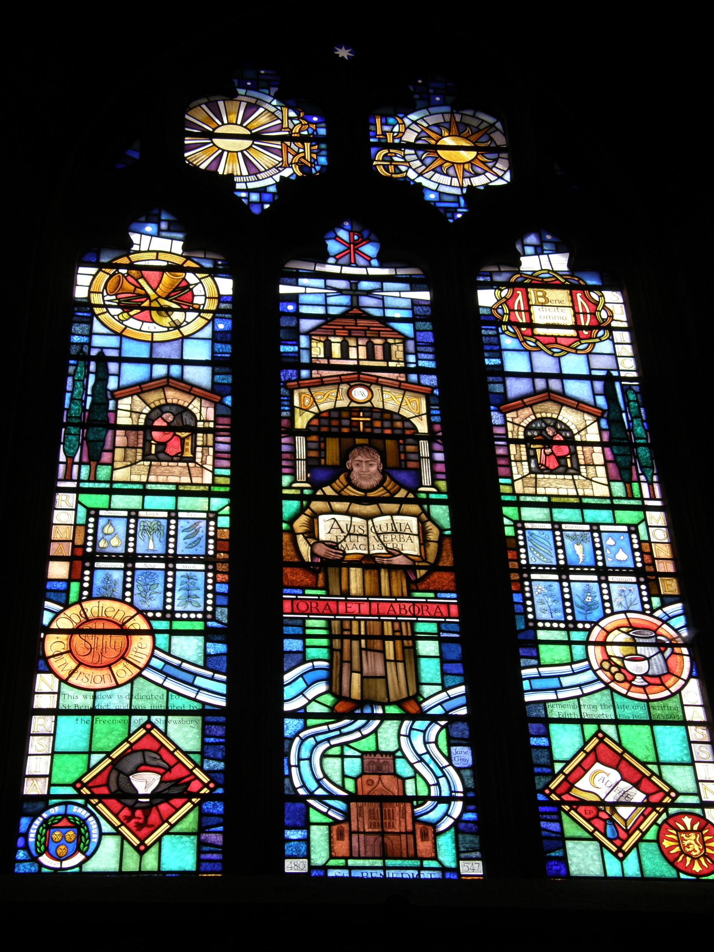 Brother Cadfael Window, Shrewsbury Abbey Church