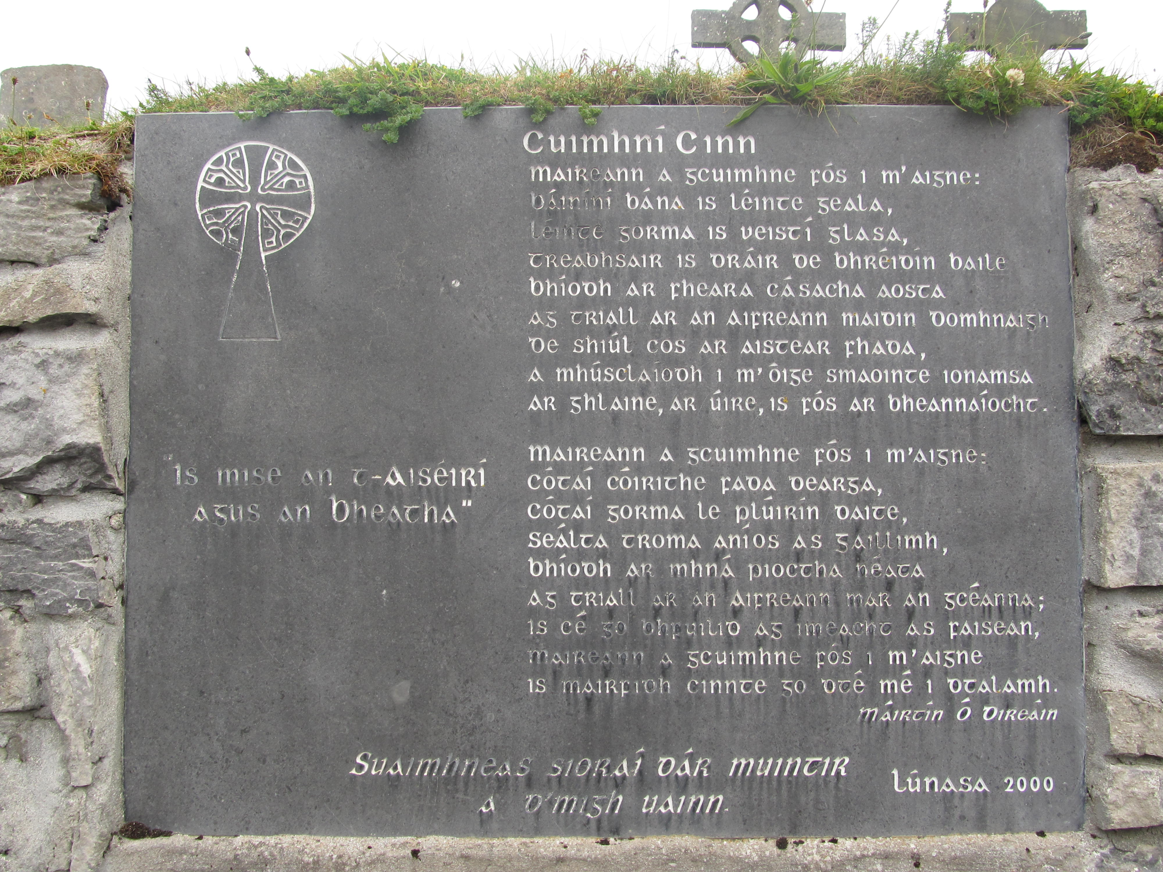 Stone Plaque at Teampall Chaomháin, Inis Oírr (photo from Ciara Grogan)