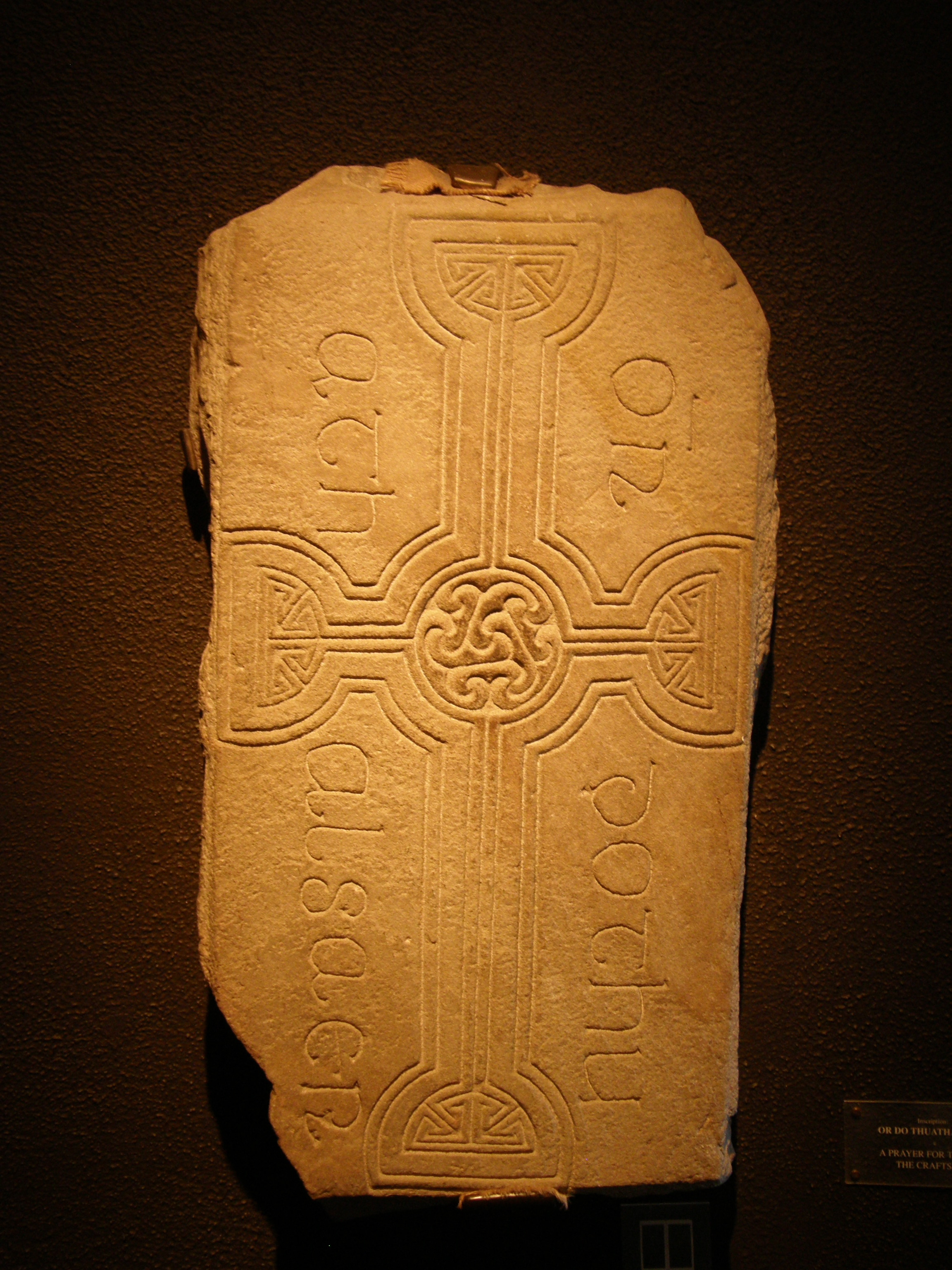 Inscribed Stone with Triskelion from Clonmacnoise, Co. Offaly, Éire