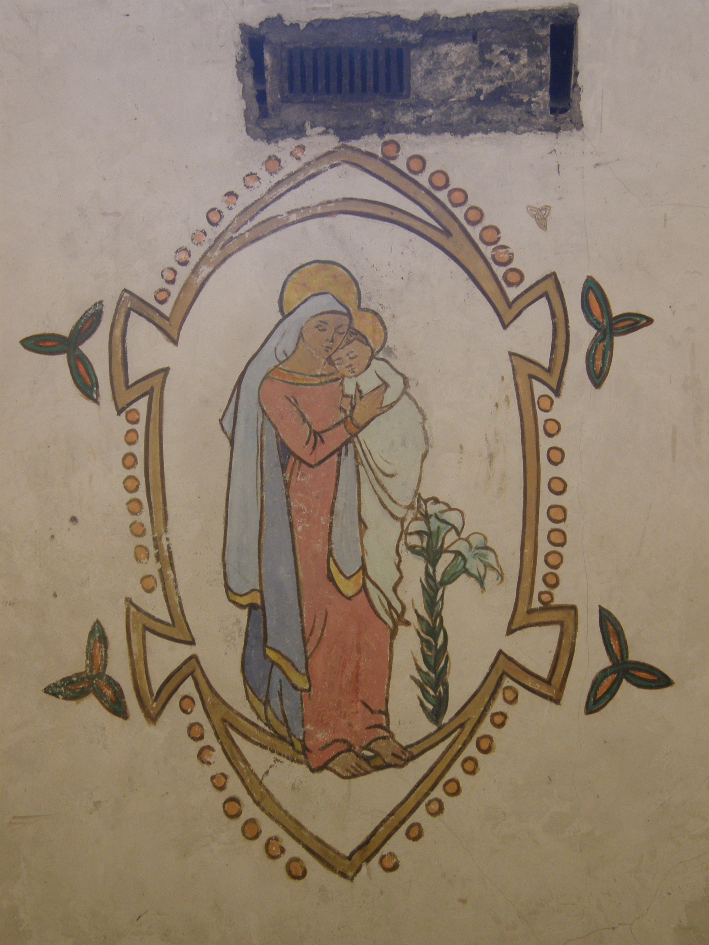 Mural of the Virgin Mary Painted on her Cell Wall by Grace Gifford, Kilmainham Gaol