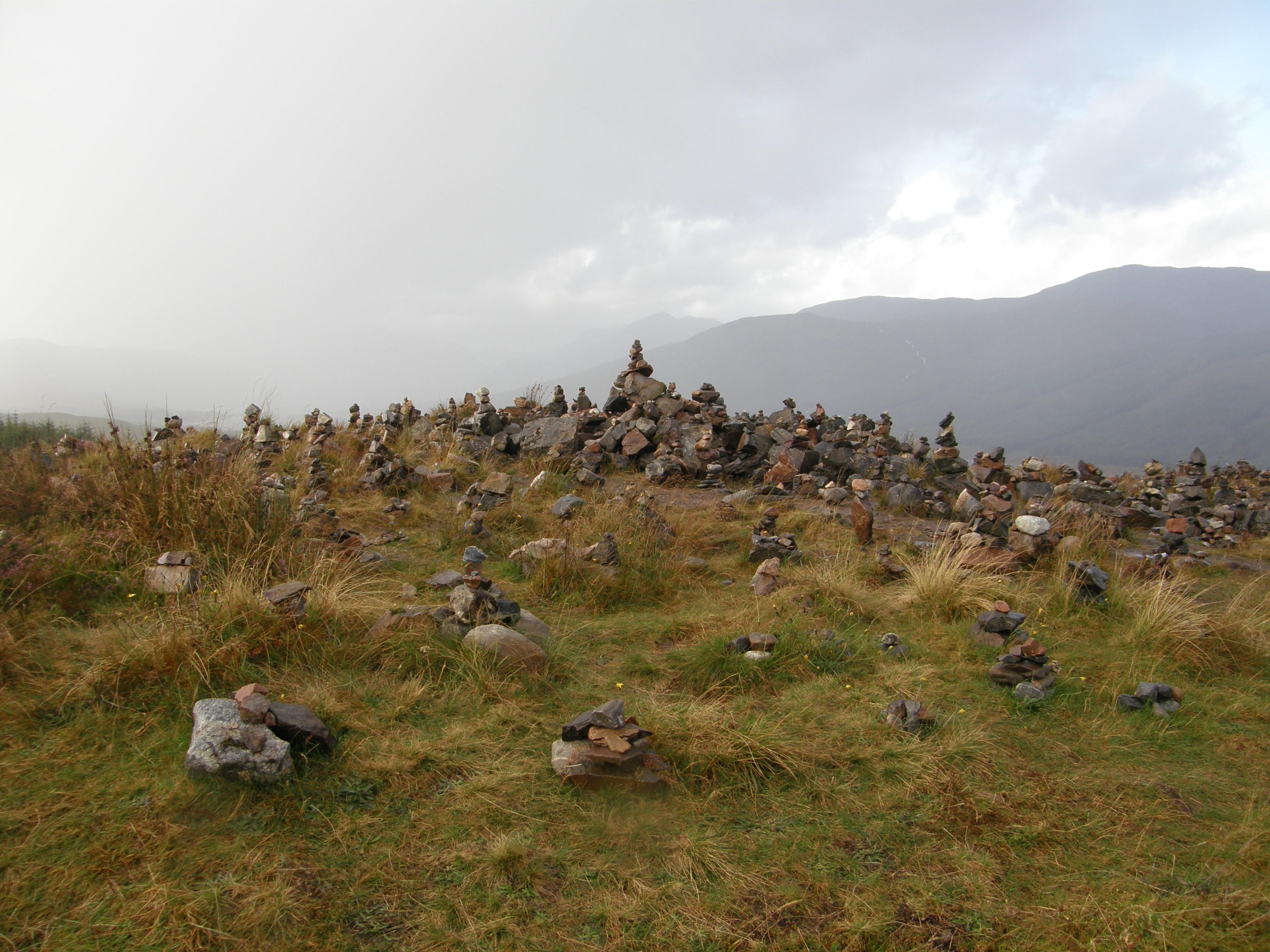Small Cairns along side A87 Highway in Scotland