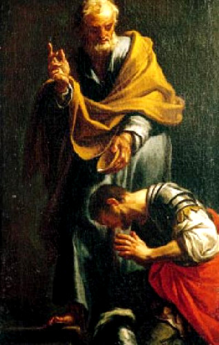 Peter Baptizing the Centurion Cornelius by Francesco Trevisani (1709)