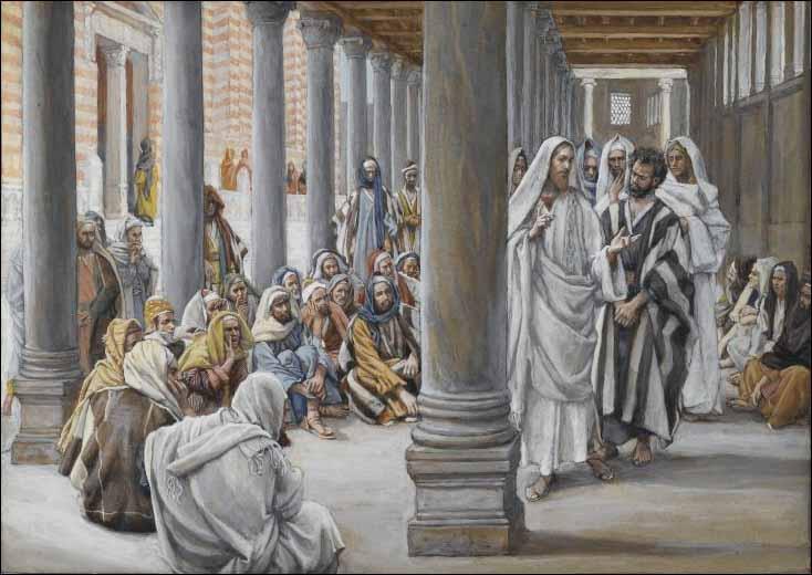Jesus Walks in the Portico of Solomon by James J Tissot
