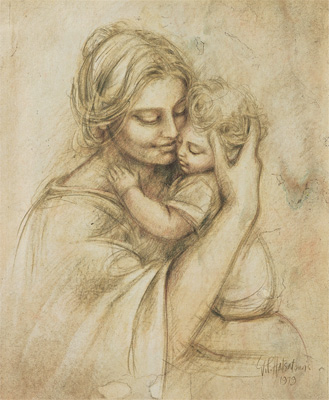 Drawing of Mother Holding Baby