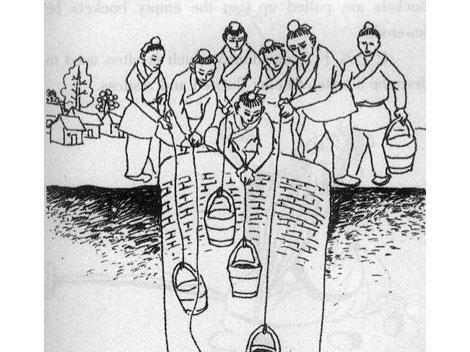 Illustration of Chinese Fifteen Buckets Idiom