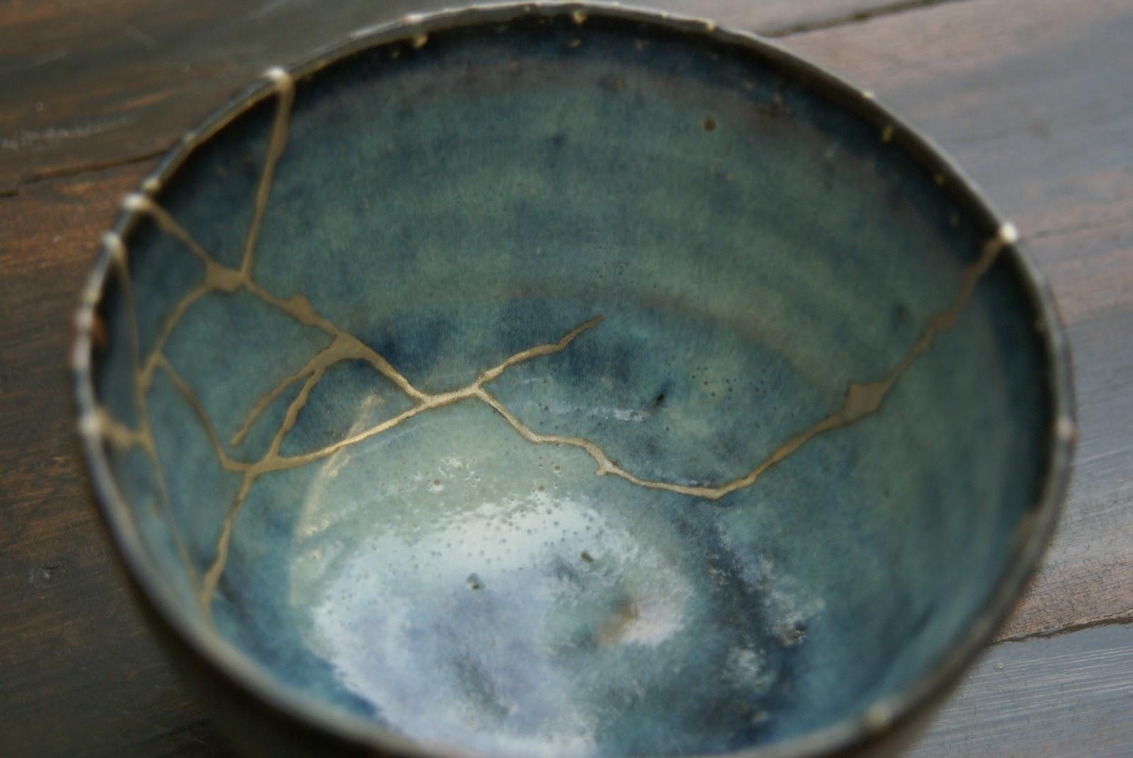 Kintsugi Repaired Blue-Green Bowl