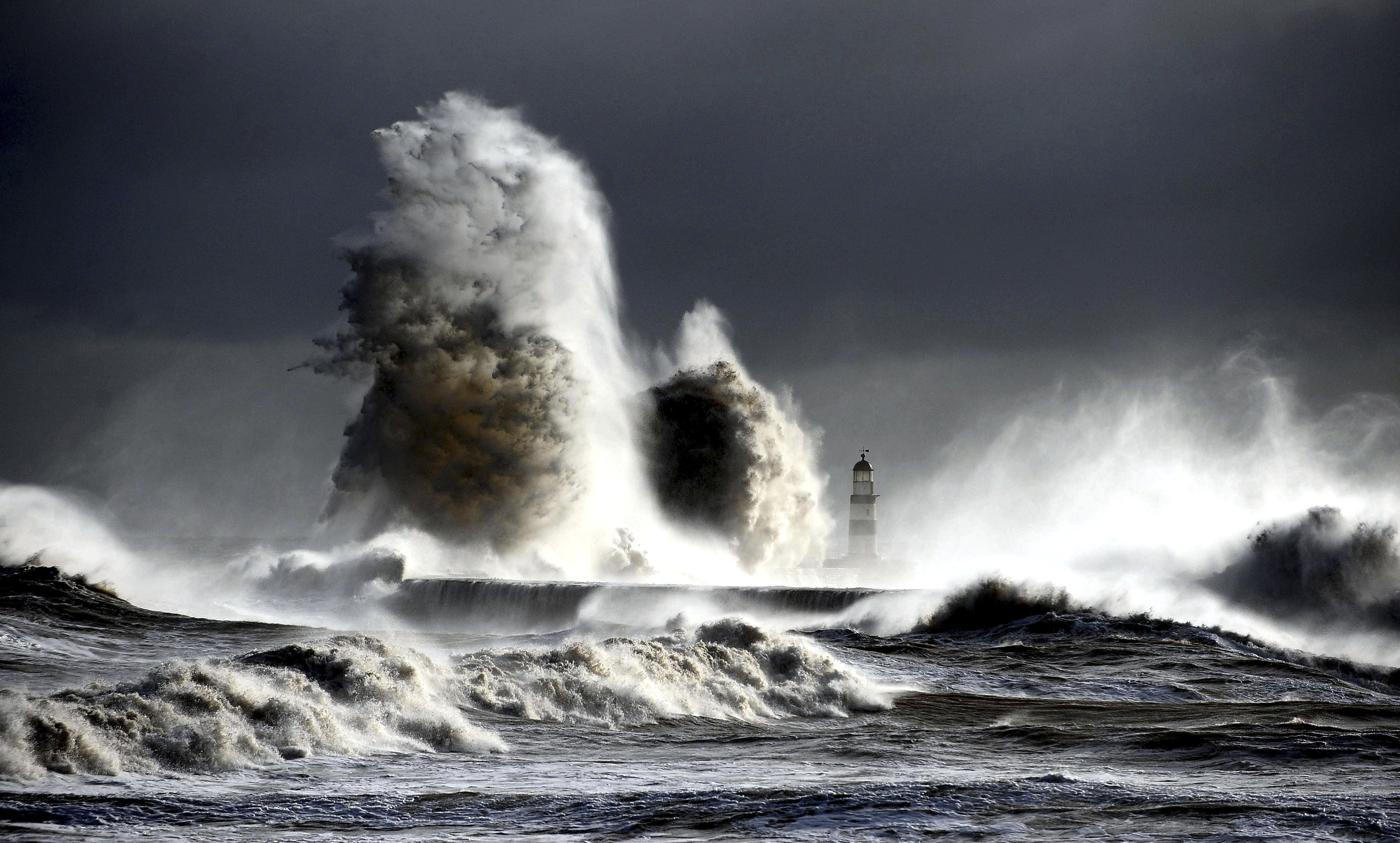A Raging Sea at Seaham Lighthouse, England