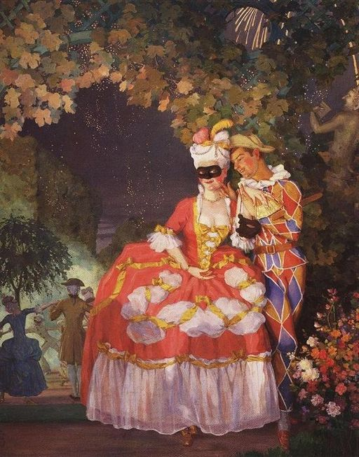 Harlequin and a Lady by Konstantin Somov, 1921