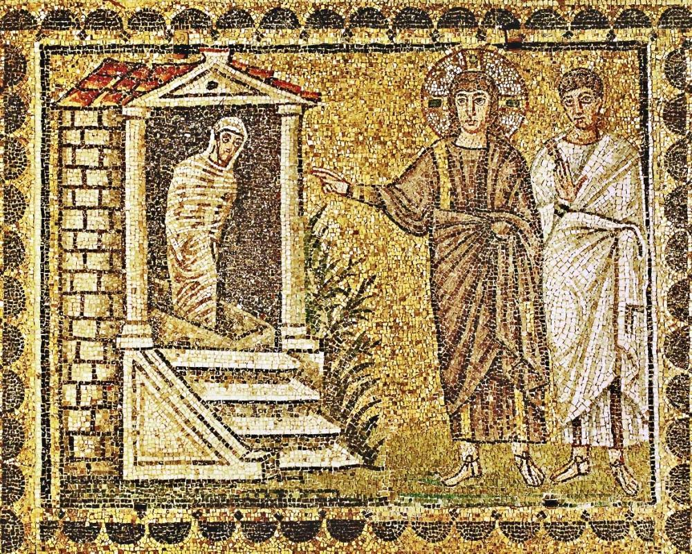 The Raising of Lazarus, Basilica di Sant'Apollinare Nuovo, Ravenna, Italy, 6th century